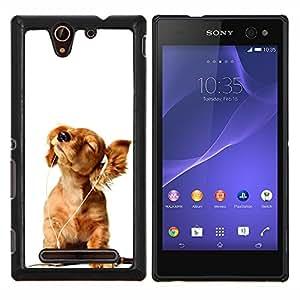 YiPhone /// Prima de resorte delgada de la cubierta del caso de Shell Armor - Golden Retriever música blanca del perrito - Sony Xperia C3
