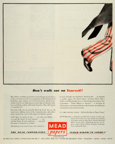 1944 Ad Mead Corp Papers Uncle Sam Costume US War Bonds Wartime WWII Printing - Original Print Ad (Costumes Us)