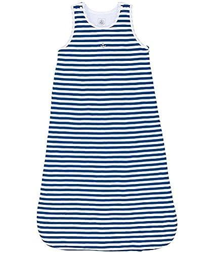Petit Bateau-Saco de dormir para bebé, color azul marino y blanco