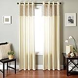 Softline Home Fashions Vernetti Faux Silk Window Treatment/Curtain/Panel/Drape, Champagne, 55 x 96″ For Sale