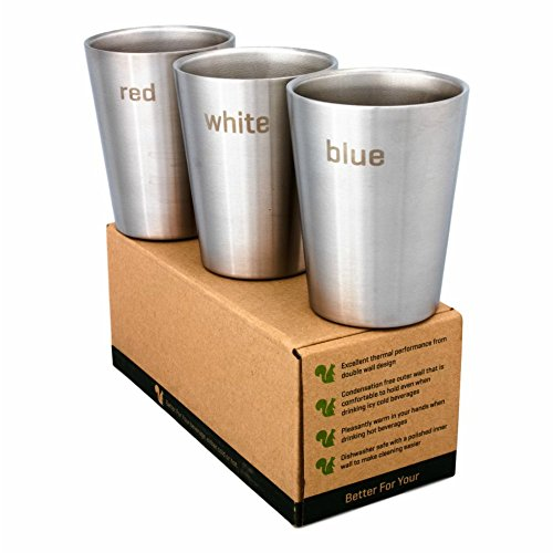 Better For Your - Espresso Cups Stainless Steel Double Wall - Wine Tumblers - Set of 3-8oz / 250ml - Color Words - red - white- (7 Oz Hot Cold Cup)