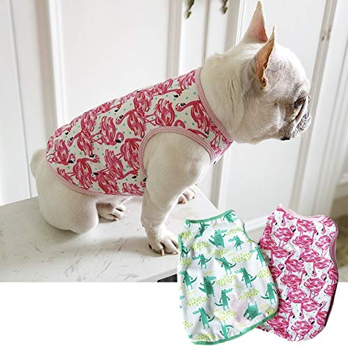 CheeseandU Pet Dog Summer Vest, 2019 Cute French Bulldog Dog Pure Cotton Fashion T-Shirt Breathable Soft Sleeveless Top Summer Dog Clothes for Small Medium Dogs Breeds Cats, Pink -