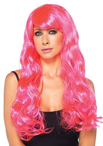 Leg Avenue Neon Star Long Wavy Wig, Neon Pink, One Size (Womens Fancy Dress Wigs)