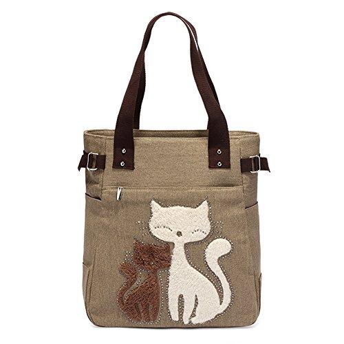 CLELO Women's Casual Canvas Cat Handbag Tote Purse for Ipad (khaki) (Cat Suite)