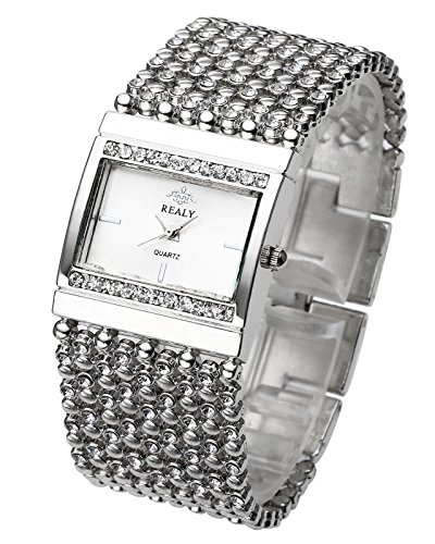 Top Plaza Women Luxury Fashion Bracelet Analog Quartz Watch Silver Tone Big Face Large Dial Wide Band Rhinestone Decorated Waterproof Cuff Watch,Rectangle Case 38×25 (Silver Tone Analog)
