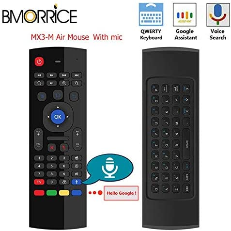 Calvas MX3-A MX3-M Voice Control Wireless Air Mouse Keyboard 2.4G RF Gyro Sensor Smart Remote Control For X96 H96 Android TV Box Color: RU W Mic No Backlit