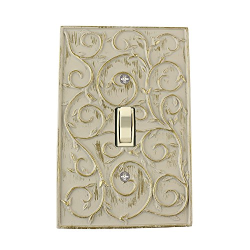 (Meriville French Scroll 1 Toggle Wallplate, Single Switch Electrical Cover Plate, Ivory)