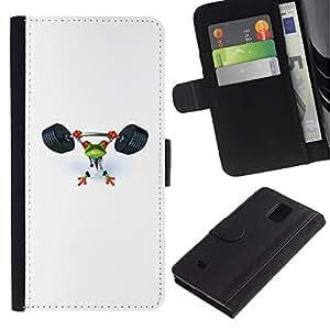 KingStore / Leather Etui en cuir / Samsung Galaxy Note 4 IV / Gimnasio Deportes Rana Blanca Levantamiento de pesas