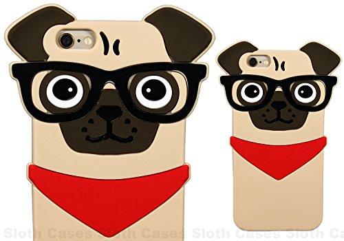 Le PUG Dog Verres de forme 3D Animaux en caoutchouc souple en silicone pour iPhone housse étui SE (Brown) © Sloth Cases