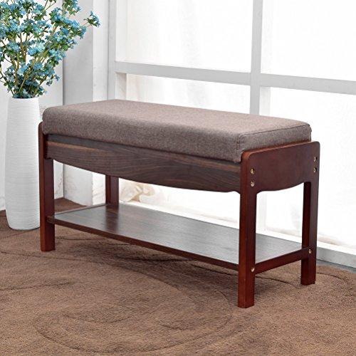 NATURALFOREST Wooden Shoe Rack For Closet, Dark Brown Solid Wood Shoe Rack Organizer, Entryway Storage Bench (dark brown) (dark brown) (Solid Wood Closet Organizers)