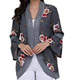 Summer Cardigans for Women Bell Sleeve Chiffon Short Vintage Floral Kimono Blouse,Gray Floral Cardigans for Womn,X-Large