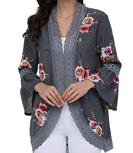Classic Vintage Cardigan (Summer Cardigans for Women Bell Sleeve Chiffon Short Vintage Floral Kimono Blouse,Gray Floral Cardigans for Womn,X-Large)
