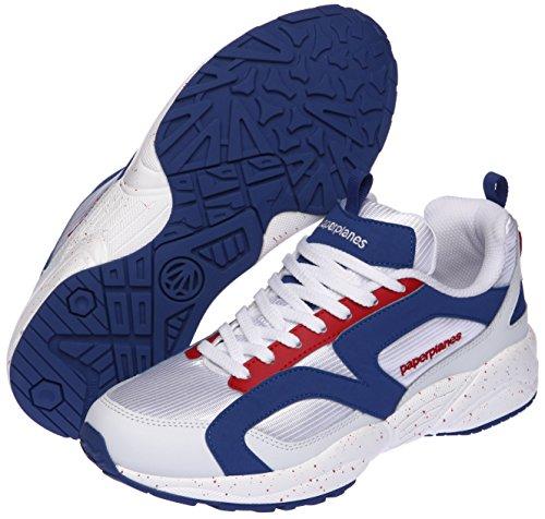 Paperplanes-1352 Sneakers Unisex Ultra Razza Scarpe Bianche Blu Rosso