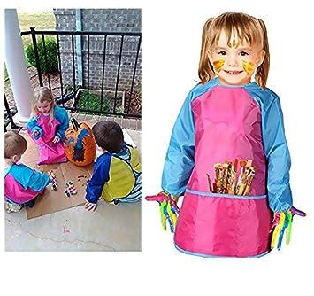 Amaza 2Pcs Delantal Infantil Pintura para 2-8 Años (Amarillo & Rosa): Amazon.es: Juguetes y juegos