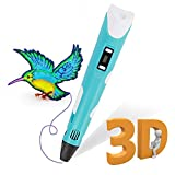 3D Pen,3D Printing Printer Pen with LCD Display, Compatible with PLA&ABS, 3D Doodler Drawing Pen for Arts Crafts,Perfect Gifts for Kids&Adults,Comes w/1.75MM PLA Filament &Paper Stencils(Blue)