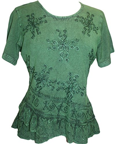 Agan Traders 118 B Medieval Cross Blouse (2X, E Green)