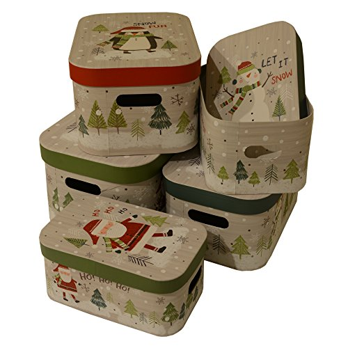 Gift Boxes nested, assorted Christmas Holiday rounded designs, Santa, Snowman and penguin prints, set of 5: Extra Small, Small, Medium, Large and Extra Large