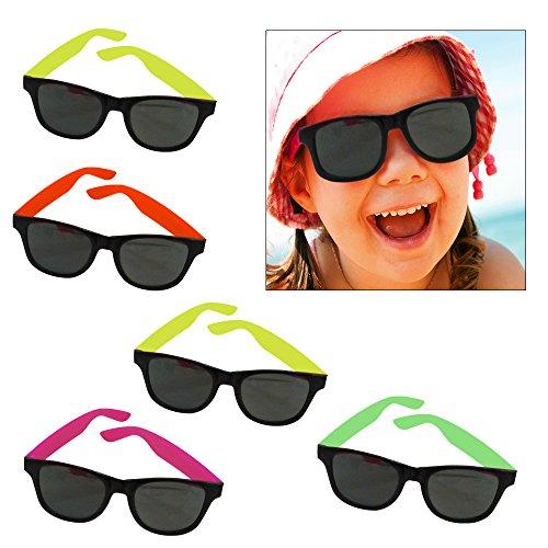Dazzling Toys 12 Paar Wayfarer-Sonnenbrille Kids Teen Party Favors Neon 80er Z0Q2ANk