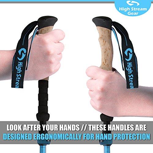 High Stream Gear Women's Collapsible Walking Sticks, 2 Lightweight Foldable Hiking & Trekking Poles, Adjustable Quick Lock Folding Poles (Light Blue)