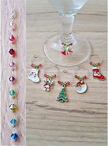 53d34ce089bab Handmade Set of Six Personalised Enamel Christmas Wine Glass Table ...