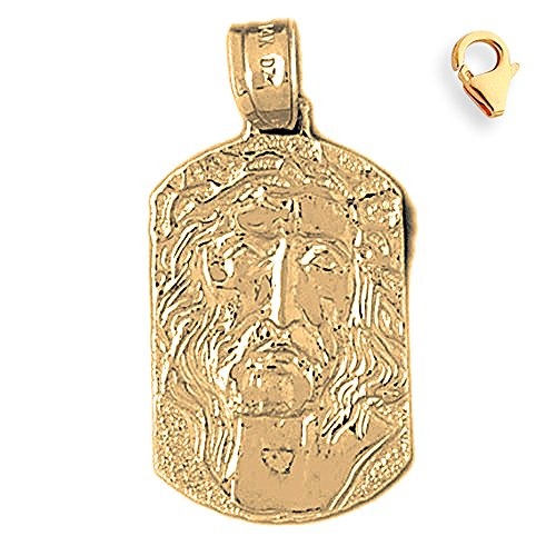 Gold-Plated 925 Silver 32mm Jesus Medal 7.25'' Charm Bracelet by JewelsObsession