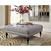 Coaster Donny Osmond Home 500315 Fabric Accents Tufted Square Ottoman with Casters, Gray