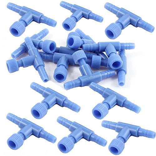 XMHF 20pcs T Shaped Aquarium 2 Way Air Pump Control Valves for Fish Tank Blue Plastic ()