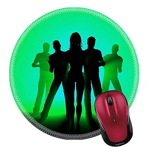 Liili Round Mouse Pad Natural Rubber Mousepad party background rays of music behind 3d Photo - Logo Bands Ray