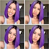 Kerrywigs Grade 10A Brazilian Hair Ombre Purple Bob Cut Full Lace Human Hair Wigs For Black Women Short Glueless Lace Front Wigs Pre Plucked Baby Hair-10inch full lace wig