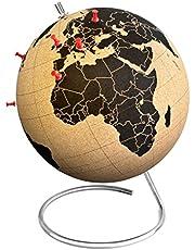 Suck UK Large Desktop Cork Globe | Push PINS Included | Educational World MAP | Travel Accessories | Adventure & Memories Display |, Metal Brown/Black