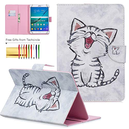 7 inch Universal Tablet Cover, Techcircle Colorful PU Leather Stand Flip Wallet Protective Case, for Samsung Galaxy Tab 7.0, LG G Pad 7.0, Kindle Fire 7 and More Android Tablet, Cute Kitty (Best Cover For Nexus 7 2019)