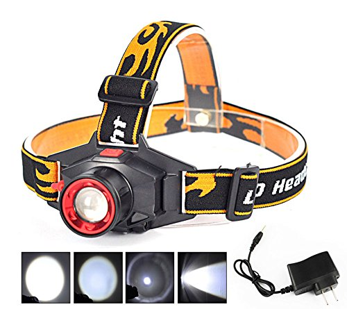 Welltop® Zoomable Headlamps Headlight Head Torch Rechargeable 800LM Q5 LED 3-Modes Adjustable Focus Headlamps with Charger for Night Fishing Hunting Camping