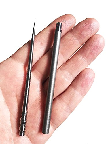 The Solid Titanium 4 EDC Ice Pick with protective case handle keychain Silver - Empire Tactical USA