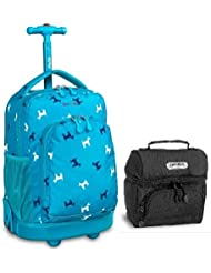 J World Puppy Sunny Roller Backpack Back Pack and Black Corey Lunch Bag School Bundle Set