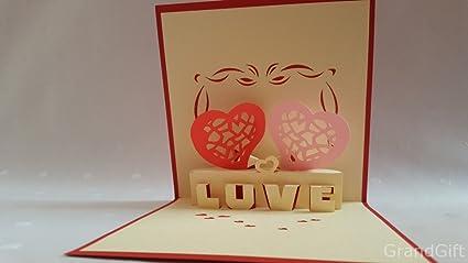 Amour Hearts 3d Pop Up Cartes De Vœux Anniversaire Bébé Anniversaire De Pâques Halloween Mothers Pères New Home Nouvel An Thanksgiving Saint Valentin
