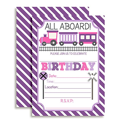 "Train Birthday Party Invitations for Girls, 20 5""x7"" Fill In Cards with Twenty White Envelopes by AmandaCreation"