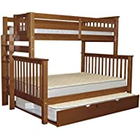 Bedz King Bunk Beds Twin over Full Mission Style with End Ladder and a Full Trundle, Espresso