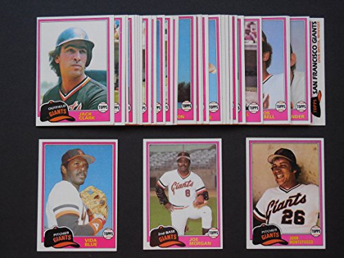 fan products of San Francisco Giants 1981 Topps Baseball Master Team Set with year end High Numbers (33 Cards)*** (AND RECEIVE A FREE Willie Mays 1960 REPRINT Card)*** Dave Bergman, Vida Blue, Enos Cabell, Jack Clark, Darrell Evans, Larry Herndon, Al Holland, Mike Ivie, Bob Knepper, Gary Lavelle, Johnnie LeMaster, Jerry Martin, Milt May, Greg Minton, Randy Moffitt, John Montefusco, Joe Morgan, Rich Murray, Bill North, Joe Pettini, Rennie Stennett,Terry Whitfield, Eddie Whitson,Jim Wohlford and More