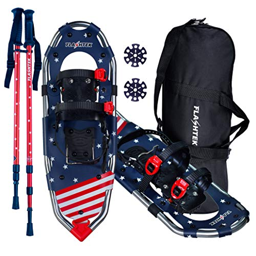 FLASHTEK 25 Snowshoes for Men and Women Lightweight Snowshoes with Poles for Hiking Heel Lift Riser for Mountaineering + Free Carrying Bag (Stars Pattern)