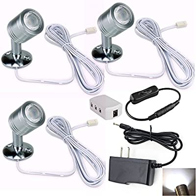 Xking 12V 1W LED Spotlight / Cabinet Light / Jewelry Lamp / Ceiling Light / Display Cabinet Light /museum/Wall Light (Set of 3)