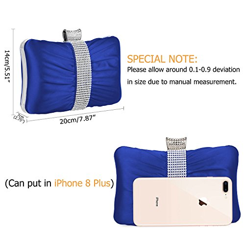 Party Case Wedding Satin Clutch Women Evening Clutch Purses Kaever Blue Purse Hard Bag Pleated For Rhinestones PBvPqXwA