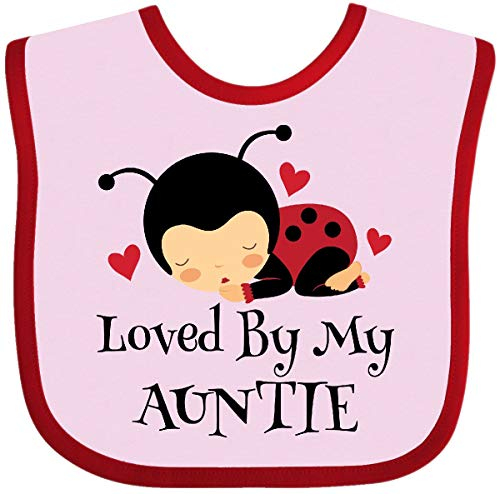 Inktastic - Loved By My Auntie ladybug Baby Bib Pink and Red 20ece