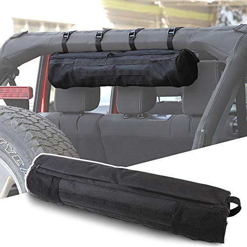 Savadicar Roll bar Storage Bags Hardtop Organizer for 1955-2020 Jeep Wrangler LJ TJ JK JL & Gladiator JT Trunk, Interior Accessories, Black