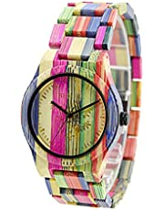 Bewell Colorful Casual Bamboo Natural Wooden Watches Women's Watch Fashion Quartz Wrist Watch with Mixed Color