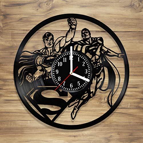 Superman Vinyl Wall Clock Clark Kent Metropolis Kal-El Superhero Comics DC Perfect Art Decorate Home Modern Style Unique Gift idea for Him Her (12 inches) ()