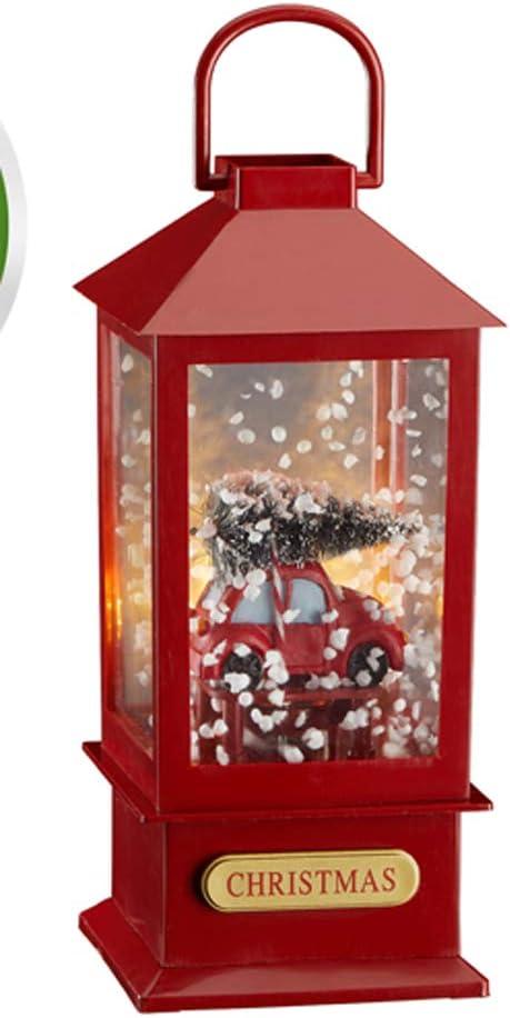 19,5 x 8,5 cm Cepewa Schneelaterne Auto mit Musik und Schneegest/öber Schneekugel Batt