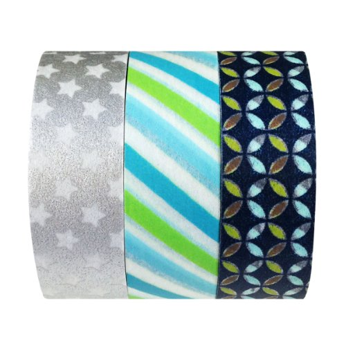 Wrapables Stars and Stripes Japanese Washi Masking Tape, Set of 3