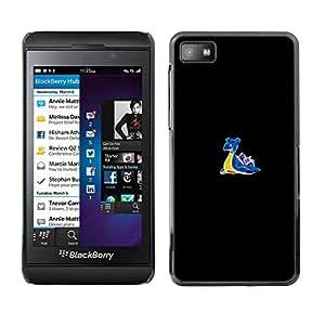 KLONGSHOP // Cubierta de piel con cierre a presión Shell trasero duro de goma Protección Caso - Meter Caracol Monster - Blackberry Z10 //