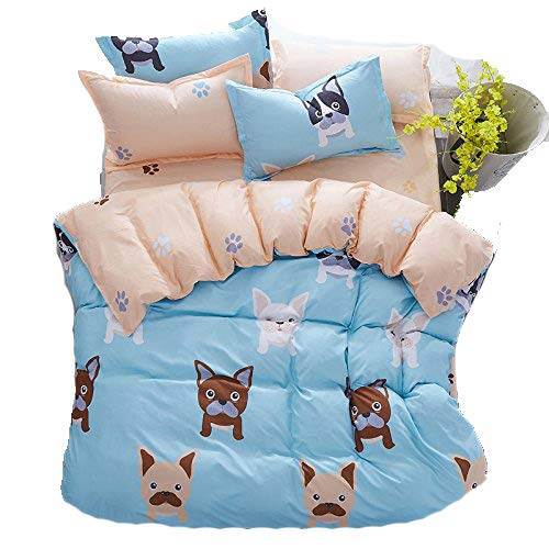 4pcs Bedding Sets Bedroom Set With 1 BedSheet 1 Duvet Cover 2 Pillowcase With Twin Full Queen Size Best Gifts (Twin, Cute Dog)