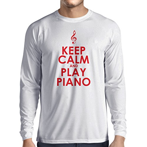 lepni.me Long Sleeve t Shirt Men Play Piano - Ain't Got No Wrong Notes (XS White Red) (Am Piano)